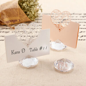 60pcs Crystal Diamond Wedding Favors Table Place Card Number Name Holders Clips