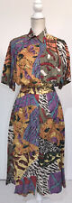 Vintage Together! Button Down Dress Women's Size 6 Artsy Multi-Color Pockets