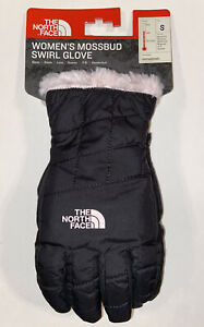 NWT THE NORTH FACE WOMEN'S MOSSBUD SWIRL GLOVE TNF BLACK/PURDY PINK SMALL $35