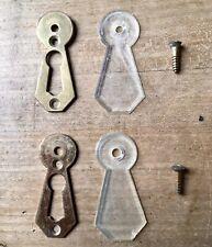 Pair Of Vintage Lucite Escutcheon Keyholes Brass Antique Door Mid Century