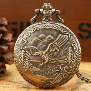 Vintage Quartz Pocket Watch Flying Eagle Necklace Chain Round Dial Xmas Gifts