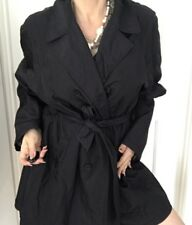 WITCHERY WOMENS COAT LINED BLACK NYLON BELT BUTTONS POCKETS SZ M