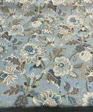 Swavelle Blue Jacobean Floral Venezla Mystic Linen Fabric By The Yard