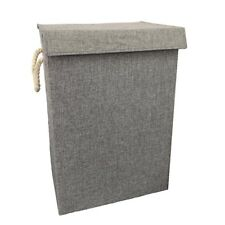 Grey Fabric Laundry Basket Hamper Lid & Handle Ideal for Clothes Storage UK
