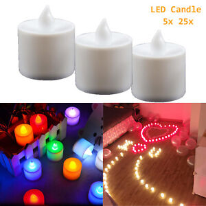 5/25x LED Tea Light Electronic Flicker Flameless Candle Multicolor Home Decor RC