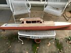 Large 1957 Wooden model boat. Made In   Germany 5 Ft Tall. Needs Renovation