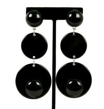 ARMANI Black Resin Large Round Drop Clip-On Statement Earrings