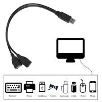 USB 2.0 A 1 Male to 2 Dual USB Female Data Hub Power Adapter Y Splitter Cable