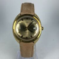Vintage Timex Mens Electric Brown Leather Band Date Indicator Wrist Watch