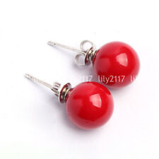 New Natural 10mm Coral Red South Sea Shell Pearl Round beads Silver Stud Earring
