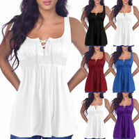 Plus Size Women Sleeveless Lace Up Vest T Shirt Blouse Summer Loose Tank Tops
