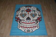Quality Blue Sugar Skull Rug 150cm x 100cm Skull Cross-Bone Print Rug