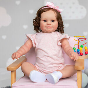 50CM Reborn Toddler Girl Doll Maddie With Rooted brown hair Soft Body Baby Doll