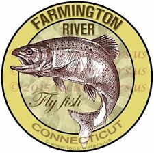 Farmington River Fly Fish Connecticut Stickers Decals (Pack of 2)