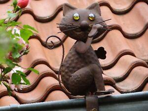 """Dachrinnenfigur """"Katze Filou"""" Garten-Zierfigur Gartendeko Dekoration Zaunfigur"""
