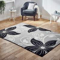 Large Thick Grey Black Modern Quality Sale Floral Flower Area Low Cost Sale Rugs