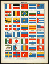 3 Antique Prints-FLAG-DRAPEAU-PAVILLION-Larousse-1897