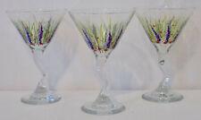 Set of 3 Hand Painted Martini Glasses Flower Garden - 8 oz.