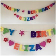 Personalised Birthday Bunting / Banner - Rainbow Colours - Single Name & Diecuts