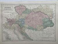 1854 Austria Hungary Austrian Empire Hand Coloured Original Antique Map