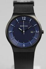 Armbanduhr Bering Quarz Solar Blau Metallbd. schwarz Mesh (#14440-227)
