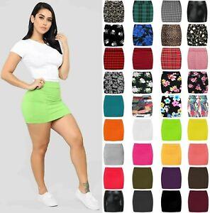 Womens Plain Stretch Bodycon Short Mini Office Ladies Pencil Skirt Size 8-22 SW