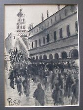 """AUGUSTE ROSSI ITALIAN WC """"CROWDED STREET VENICE ITALY"""" C 1930"""