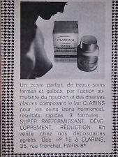 PUBLICITÉ DE PRESSE 1970 - LAIT CLARINS RAFFERMISSANT POUR SEINS - ADVERTISING