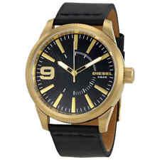 f78f55adcdba Cuero Negro Esfera Negra Diesel Escofina Reloj para hombres DZ1801