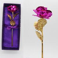 24 k oro sumergido rosa tallo largo flor de San Valentín regalo de boda + caja