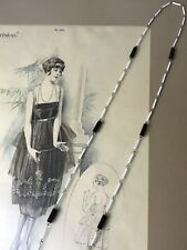 Antique Vtg Long Glass Beads Necklace Black & White Flapper Art Deco 20s 30s 40s