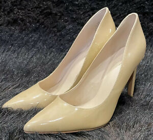 NINE WEST Ladies Size 9.5 Martina Nude Patent Leather Heels - Excellent Cond.