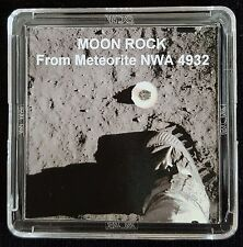 AUTHENTICATED LUNAR METEORITE- Deluxe 12mg Moon Rock Art Display with Easel  fs
