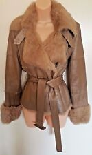 Bebe Jacket Coat Sz M Like X Small Gold Beige Leather & Rabbit Fur Lining Belt
