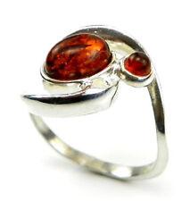 Markenlose Echte Edelstein-Ringe aus Sterlingsilber mit Bernstein für Damen