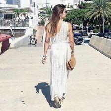 Zara Maxi vestido de encaje bordado cinturón flores Long maxi Lace dress belted size s