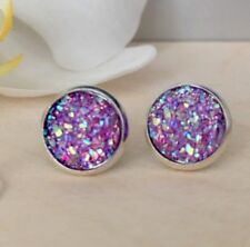 12mm Sparkly Purple Druzy Earrings Studs Bridesmaid GIFT Jewellery Birthday Love