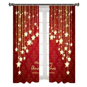 Christmas Curtains Santa Snowman Hug Window Drapes 2 Panel Set-