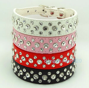Bling Rhinestone Crystal Diamond Pet Dog Cat Puppy PU Leather Collar S M L XL