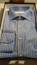 "Size 16"" Blue & White Stripe Regular Fit Shirt in 100% Cotton by Flag. Brand New"