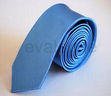 Skinny Mid Light Blue Mans Mens Slim Plain High Quality Satin Neck Tie Necktie