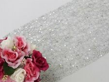 """Silver TABLE RUNNER 14""""x108"""" SEQUINS on LACE Wedding Party Catering Event Linens"""