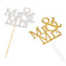 Mr&Mrs Romantic Silver Shiny Cake Topper Wedding Party Top Letter Deco YBHCA