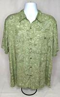 Batik Bay Green Floral Hawaiian Button Front Short Sleeve Shirt Size XL