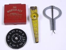 (3) Vintage Wind Instruments Master Key Pitch Instrument, Juice Harp, Tin Kazoo