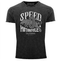 Neverless® Herren T-Shirt Vintage Shirt Printshirt Motorrad Motorcycle Speed