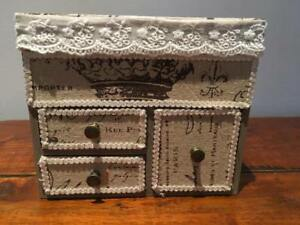 WOODEN DECORATIVE, JEWELLERY BOX ORGANISER TIDY CABINET DRAWERS FRENCH CREAM