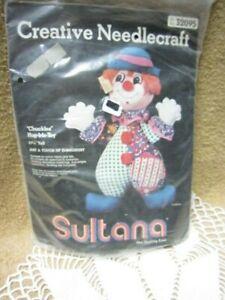 "SULTANA Creative Needlecraft  Kit, ""CHUCKLES Hug-Me-Toy"" Clown Kit, Embroidery,"