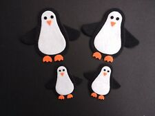 4 Navidad Pingüino Fieltro dado corta. Adornos, tarjeta Topper, corona Crafts