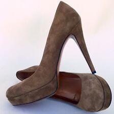 GUCCI 'Betty' Taupe Suede Platform Pump, Sz 40/10, Retail $620